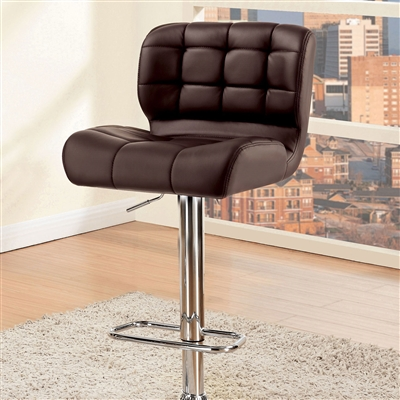 Contemporary Brown Leatherette Barstool with Chrome Base