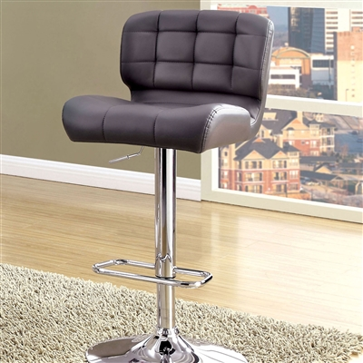 Contemporary Grey Leatherette Barstool with Chrome Base