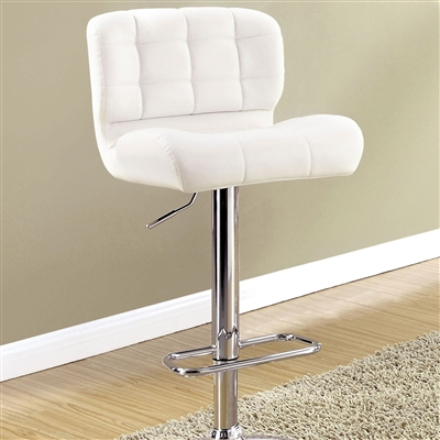 Contemporary White Leatherette Barstool with Chrome Base