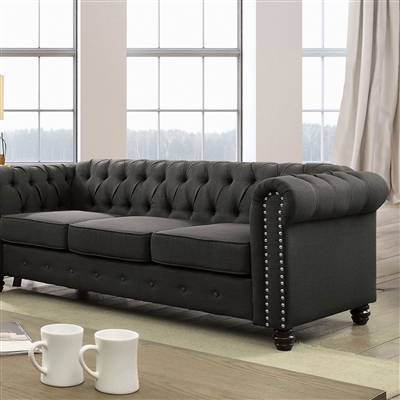 Traditional Dark Grey Chesterfield Sofa