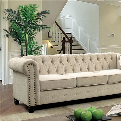 Traditional Ivory Chesterfield Sofa