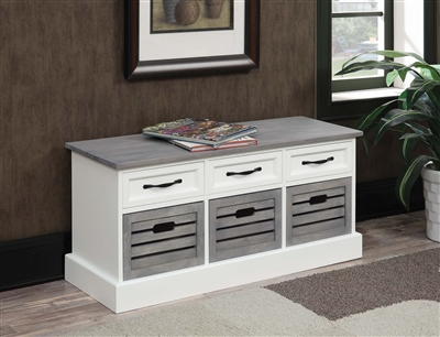 White and Gray Storage Bench