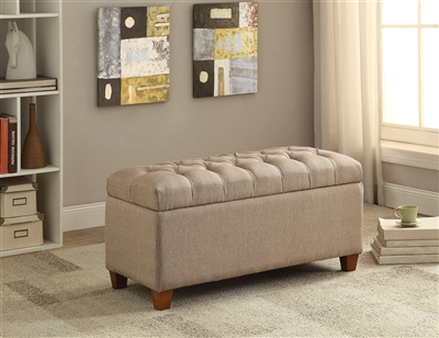 Trista Upholstered Storage Bench in Taupe