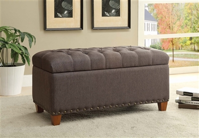 Trylia Tufted Storage Bench in Mocha