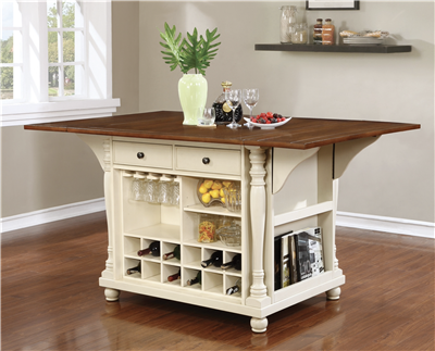 Farmhouse Style White & Cherry Finish Kitchen Island