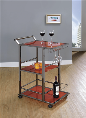 Cherry Cherry Red Serving Cart