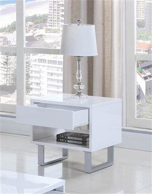 Ailah Modern High Gloss End Table with Storage