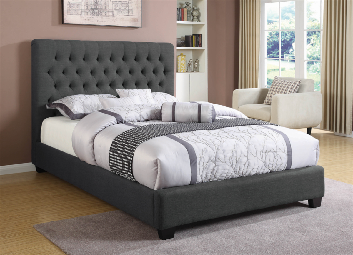 Contemporary Charcoal Gray Tufted Bed