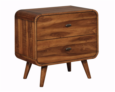 Dark Walnut Mid-Century Modern 2 Drawer Nightstand w/ Angled Peg Legs & Felt Lined Top Drawers