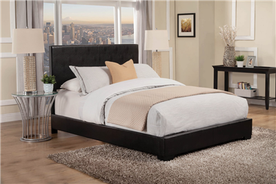 Modern Low Profile Black Leatherette Full Size Bed