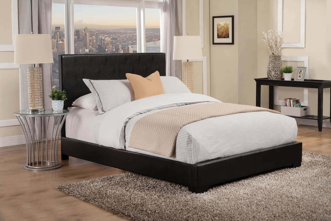 Modern Low Profile Black Leatherette Queen Size Bed