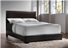 Modern Low Profile Dark Brown Leatherette Queen Size Bed