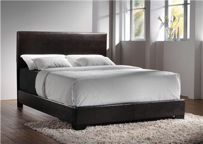 Modern Low Profile Dark Brown Leatherette Full Size Bed