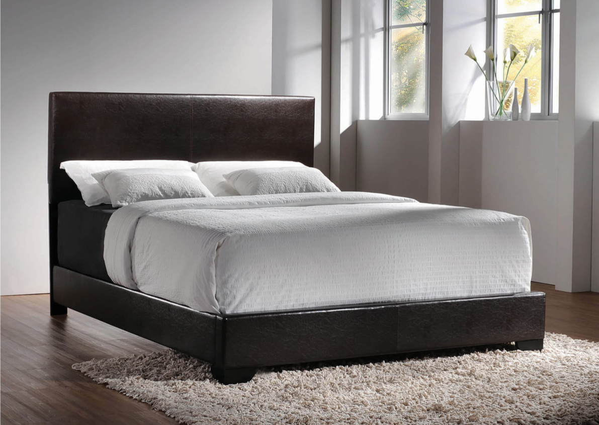 Maxwell Dark Brown Leatherette Twin Bed