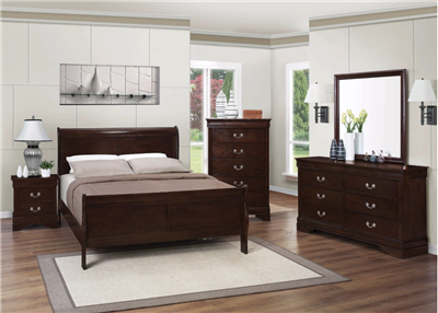 Classic Cappuccino Finish Queen Sleigh Bed