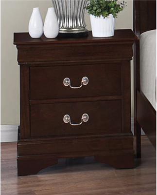 2 Drawer Cappuccino Finish Louis Philippe Style Nightstand with Silver Bail Handles