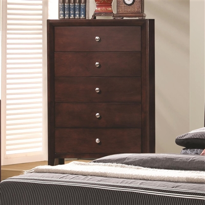 Contemporary 5 Drawer Chest in Rich Merlot Finish
