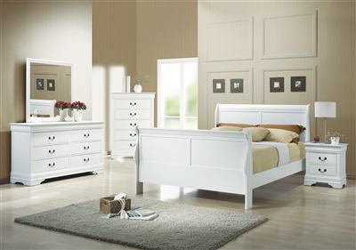 Classic White Finish Louis Philippe Style Queen Bedr 204691