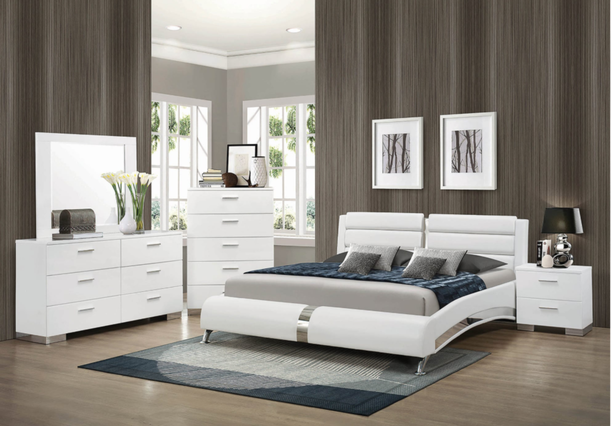 The Roxbury Ultra Modern Low Profile White Leatherette King Size Platform Bed With Channeled Headboard Chrome Accents