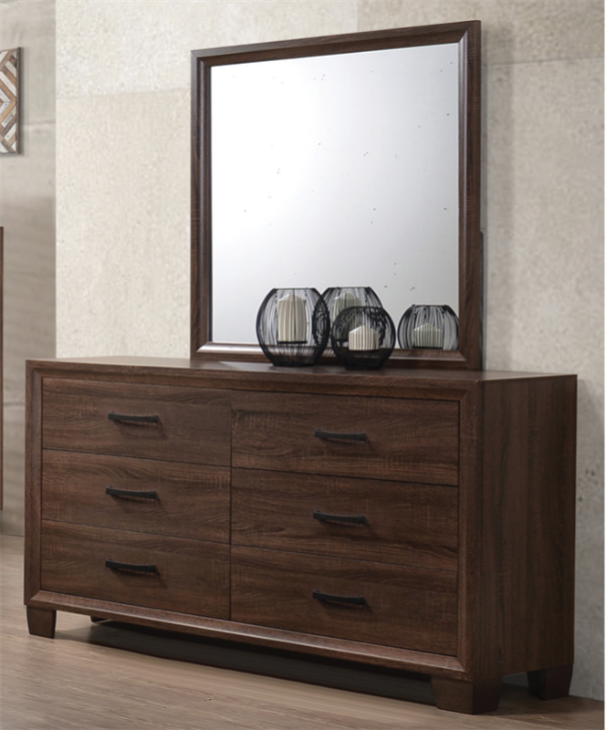 Medium Brown Finished Transitional Style 6 Drawer Dresser