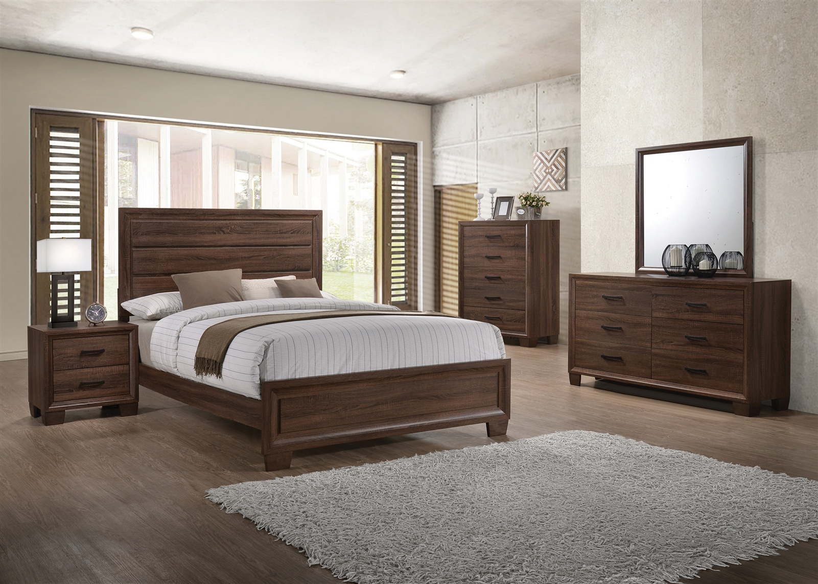 Transitional Style Panel Bed