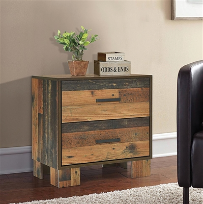 Reclaimed Wood Look 2 Drawer Nightstand with Bronze Metal Handles
