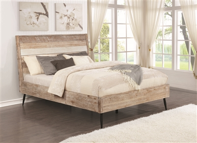 Vilma Rough Sawn Varied Natural Finish Queen Platform Bed