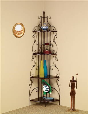 Traditional Metal Scroll Work 4-Tier Bookcase
