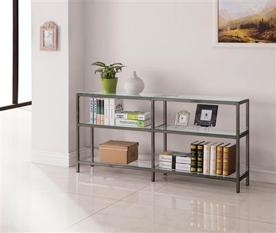 Industrial Style Console Bookcase with Tempered Glass Shelving