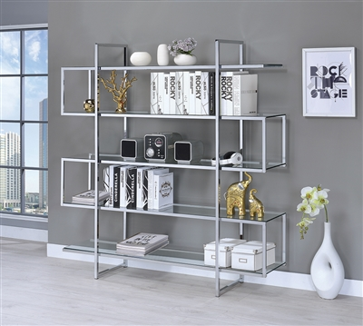 Modern Style Chrome & Glass 4-Tier Bookcase