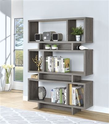 Hui Modern 5-Tier Weathered Grey Bookcase