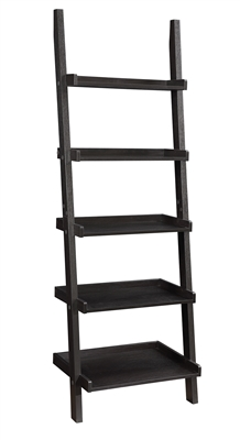 Cappuccino Finish Leaning Ladder Bookcase