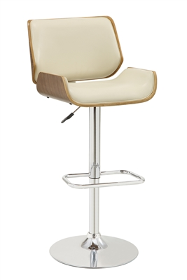 White Leatherette and Walnut Wood Mid-Century Modern Bar Stool