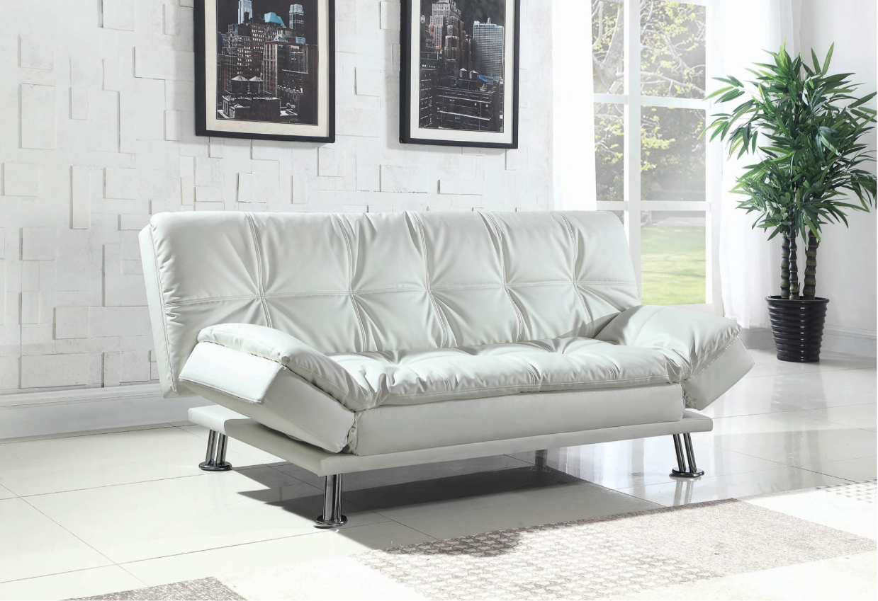 Prime Ada Plush Pillow Top Seating White Leatherette Sofa Bed Caraccident5 Cool Chair Designs And Ideas Caraccident5Info