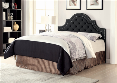Tufted Black Fabric Headboard with Silver Accent Trim