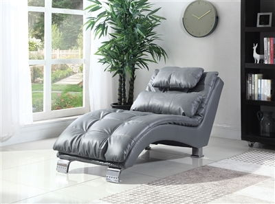 Clara Contemporary Chaise Lounge in Gray