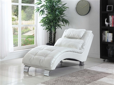 Ada Contemporary Chaise Lounge in White