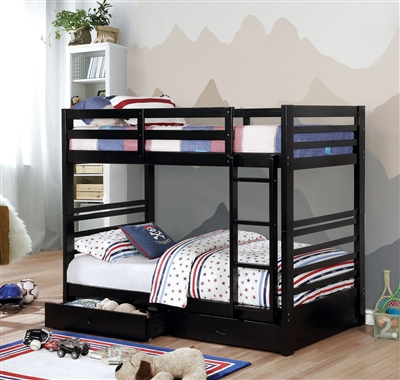 Cali Twin over Twin Bunk Bed w/ Ladder & Storage