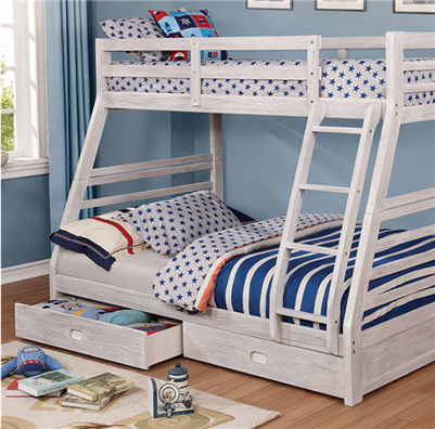 Cali Twin over Full Bunk Bed w/ Ladder