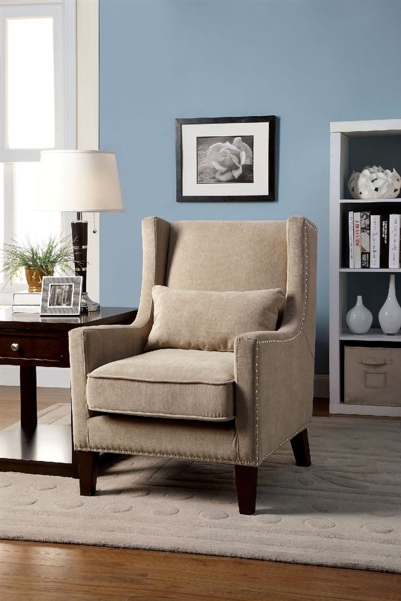 Stunning Plush Ivory Flannelette Wingback Chair With Silver Nailhead Accents