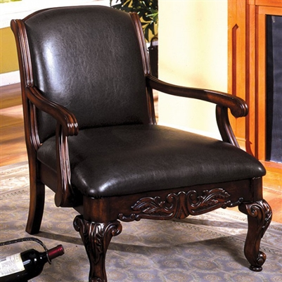 Sheffield Traditional Antique Dark Cherry Accent Chair  - FOA CM-AC6177-PU