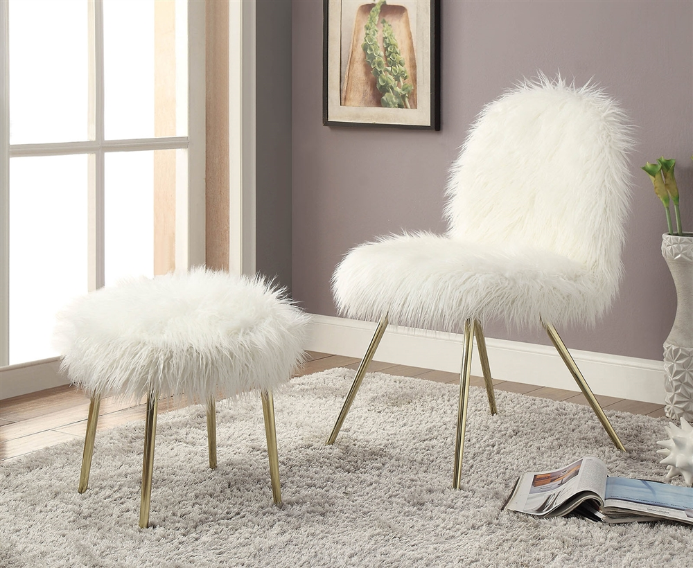 Caoimhe White Faux Fur w/ Gold Leg Accent Chair & Ottoman Set
