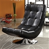 Modern Black Faux Leather Accent Chair with Round Chrome Base