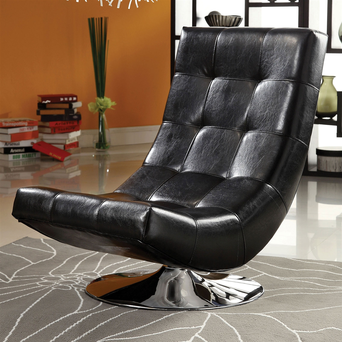Picture of: Trinidad Modern Black Accent Chair W Round Chrome Base
