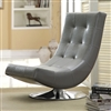 Modern Gray Faux Leather Accent Chair with Round Chrome Base