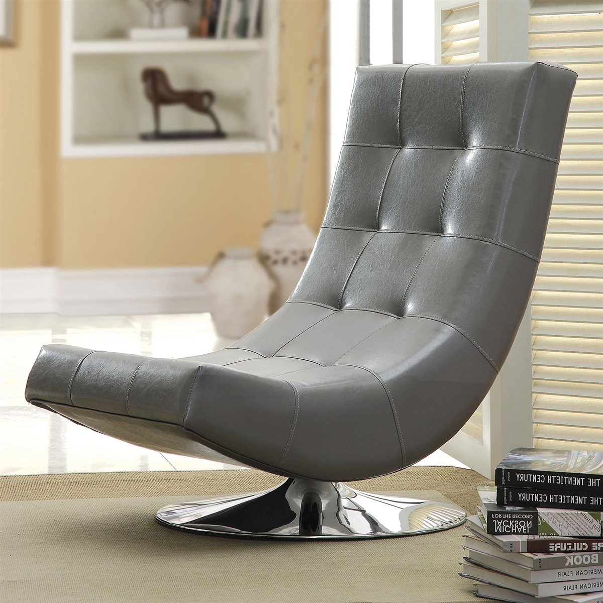 Picture of: Trinidad Modern Gray Accent Chair W Round Chrome Base