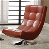 Modern Red Faux Leather Accent Chair with Round Chrome Base