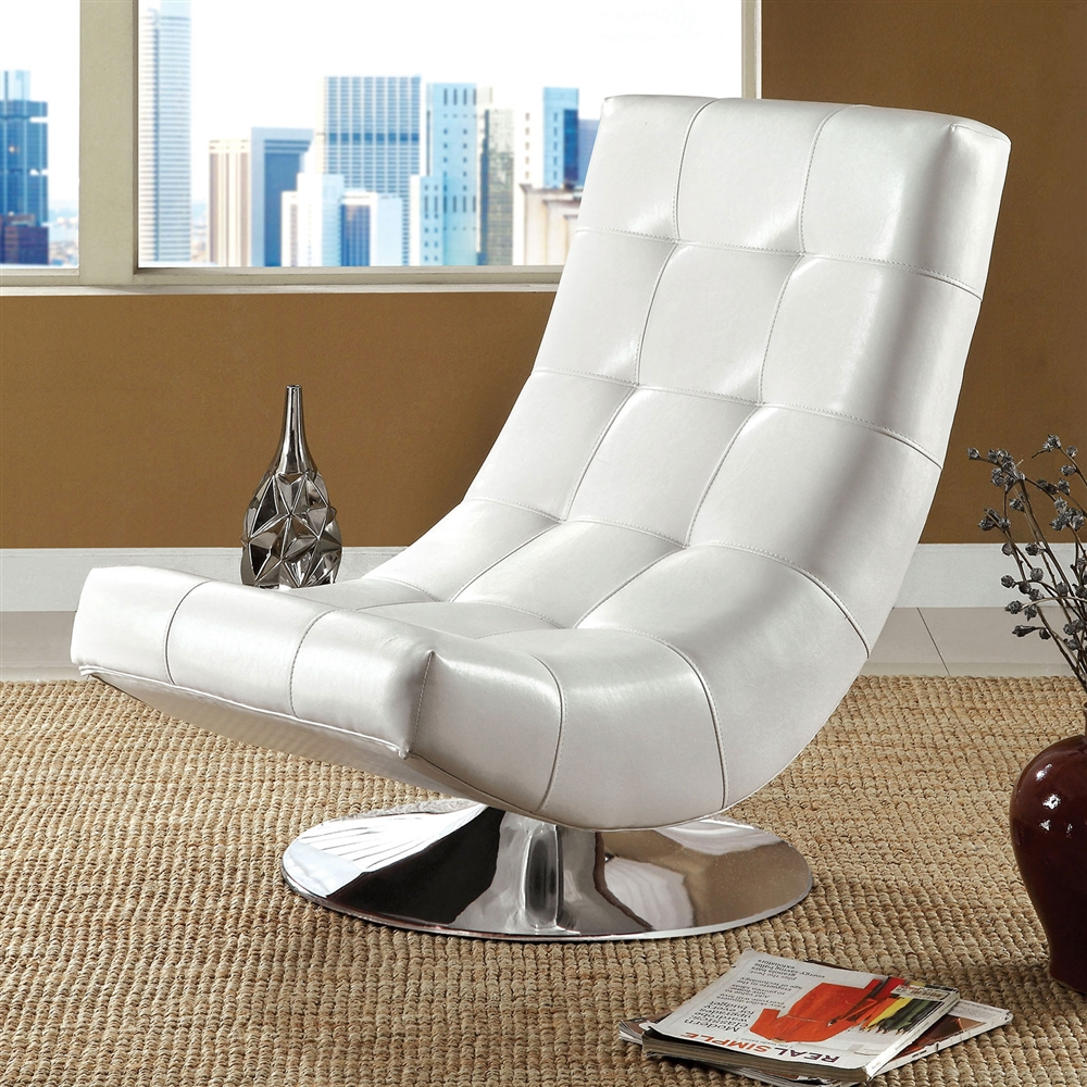 Modern White Faux Leather Accent Chair with Round Chrome Base