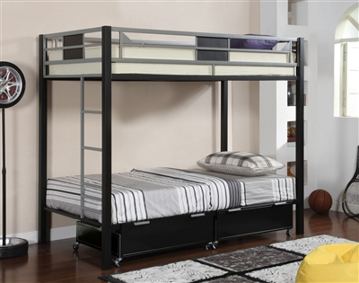 Clifton Silver & Black Finish Twin/Twin Bunk Bed
