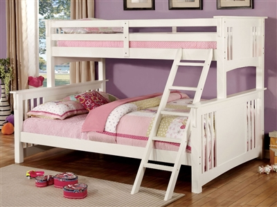 Mission Style Twin XL over Queen White Wooden Bunk Bed